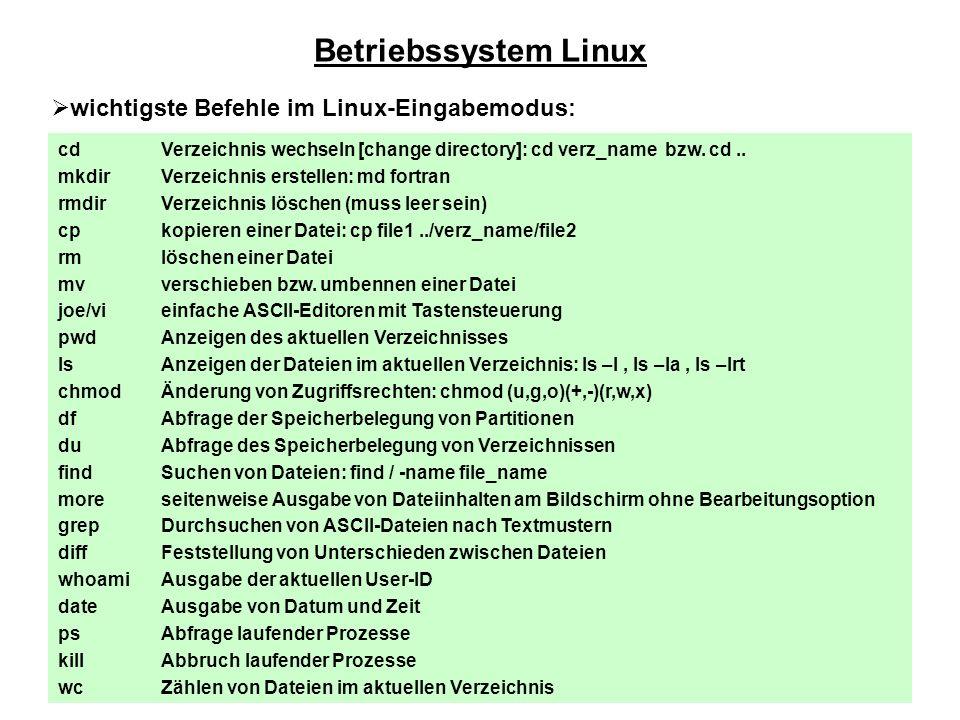 Betriebssystem Linux wichtigste Befehle im Linux-Eingabemodus: cd