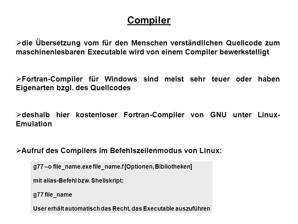 Compiler die Übersetzung vom für den Menschen verständlichen Quellcode zum maschinenlesbaren Executable wird von einem Compiler bewerkstelligt.