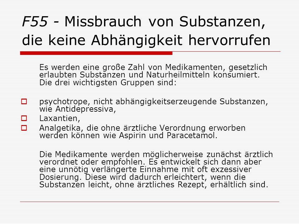 F55 - Missbrauch von Substanzen, die keine Abhängigkeit hervorrufen