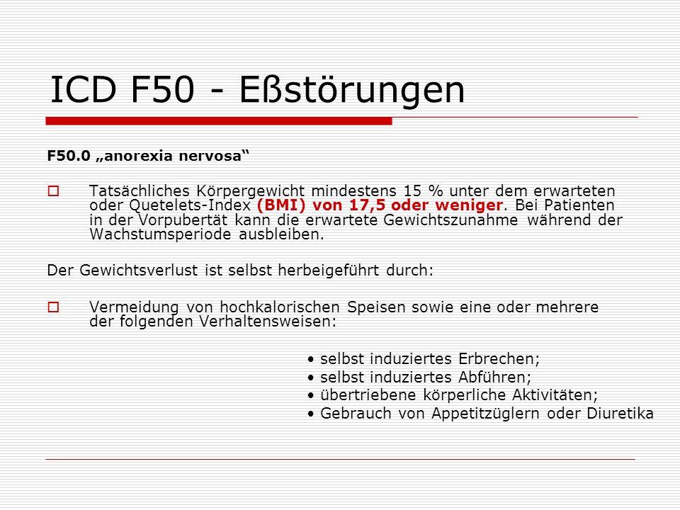 """ICD F50 - Eßstörungen F50.0 """"anorexia nervosa"""