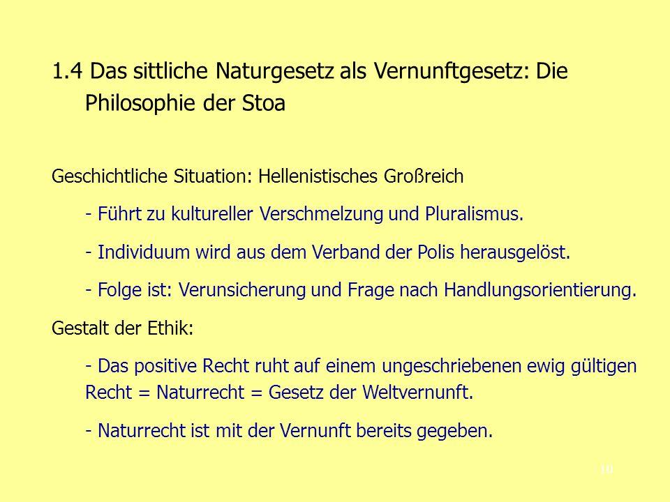 1.4 Das sittliche Naturgesetz als Vernunftgesetz: Die Philosophie der Stoa