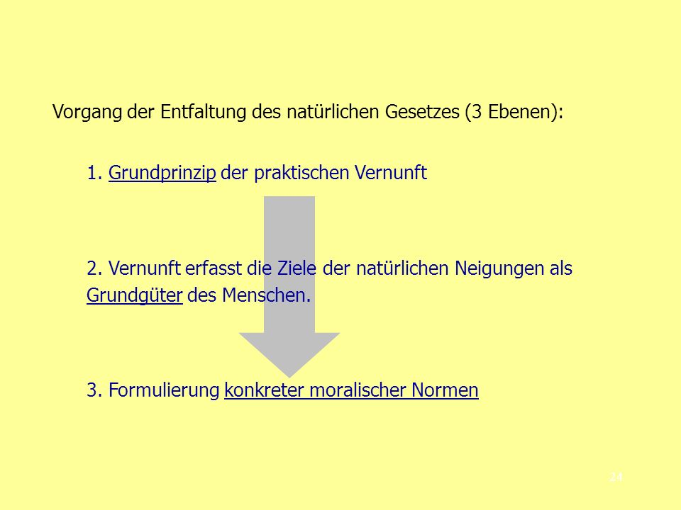 Vorgang der Entfaltung des natürlichen Gesetzes (3 Ebenen):