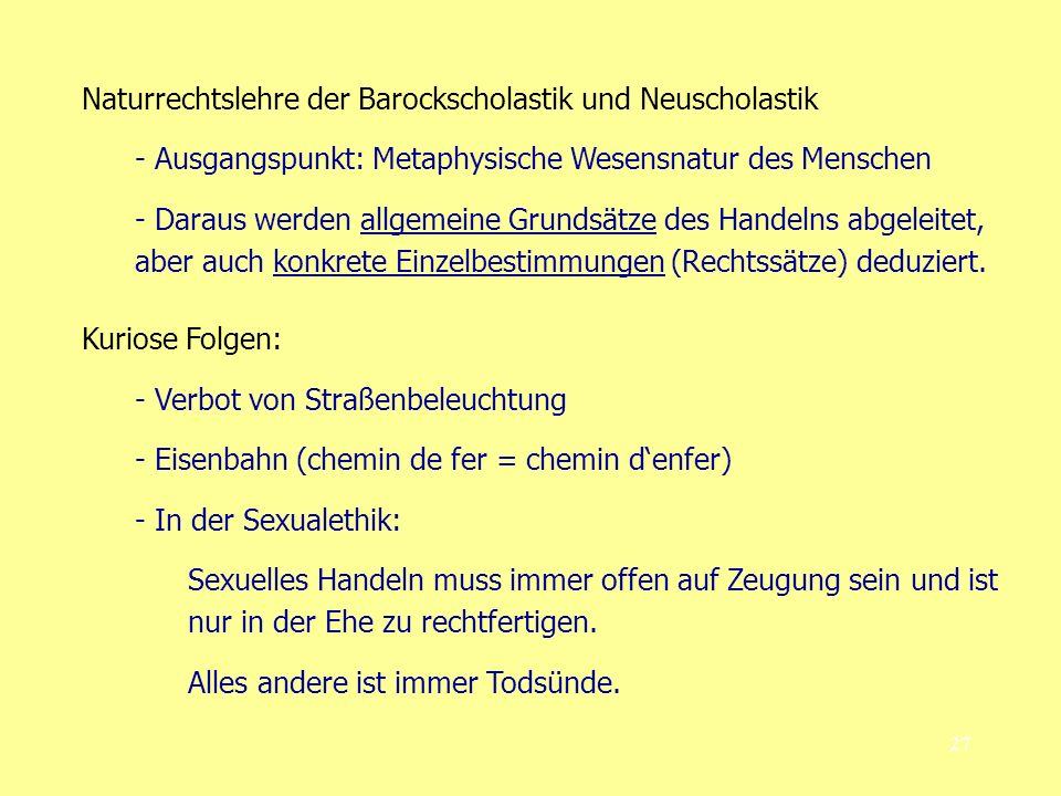 Naturrechtslehre der Barockscholastik und Neuscholastik