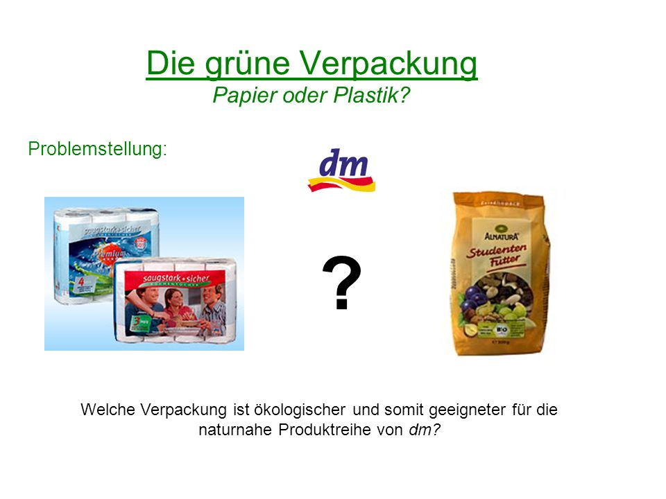 Die grüne Verpackung Papier oder Plastik Problemstellung: