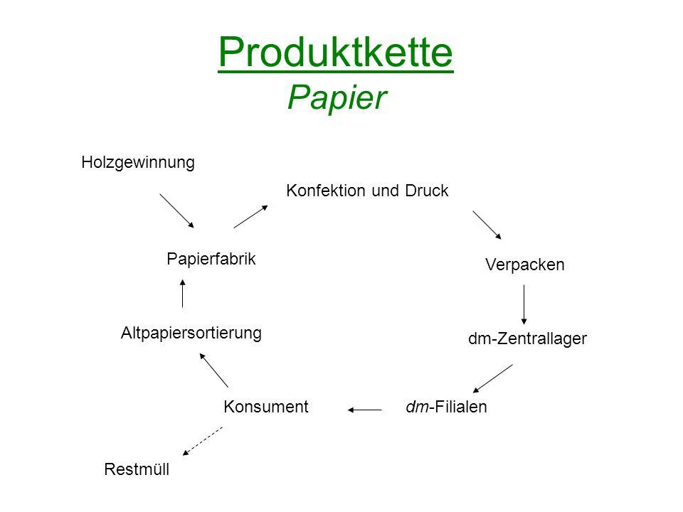 Produktkette Papier Holzgewinnung Konfektion und Druck Papierfabrik