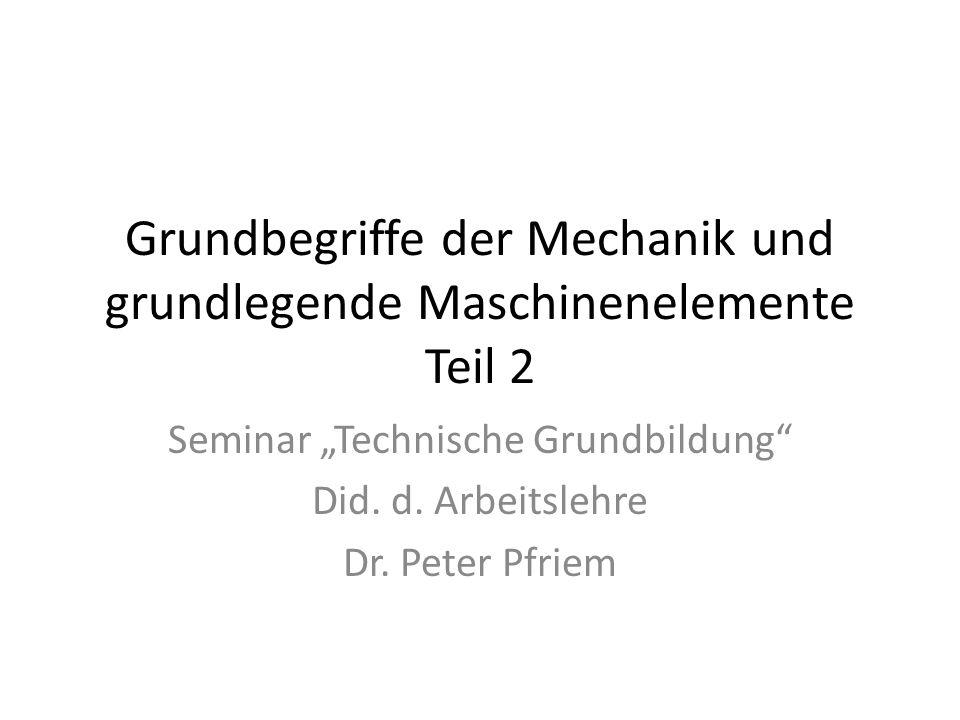 Grundbegriffe der Mechanik und grundlegende Maschinenelemente Teil 2