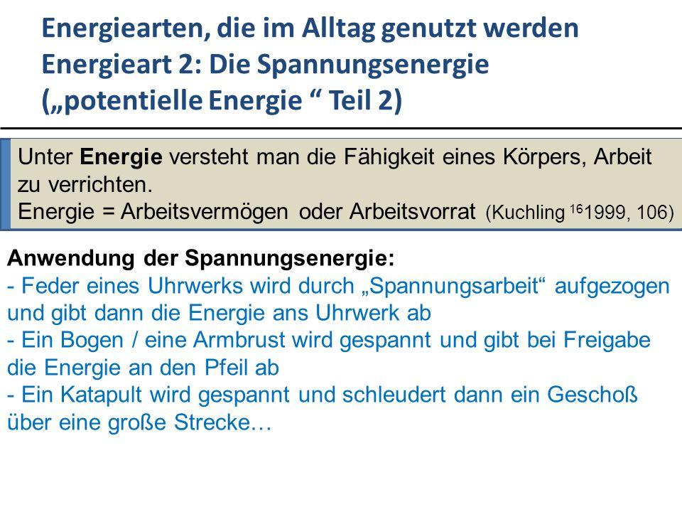 """Energiearten, die im Alltag genutzt werden Energieart 2: Die Spannungsenergie (""""potentielle Energie Teil 2)"""