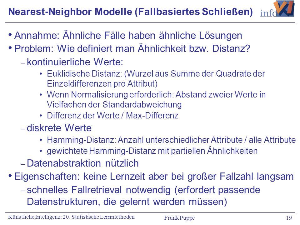 Nearest-Neighbor Modelle (Fallbasiertes Schließen)