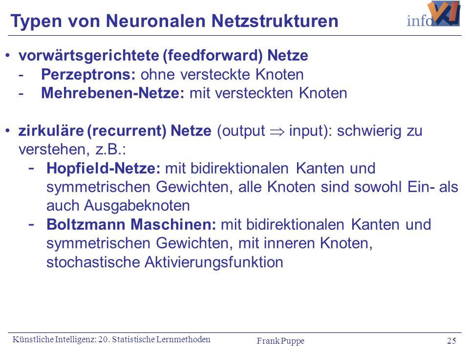 Typen von Neuronalen Netzstrukturen