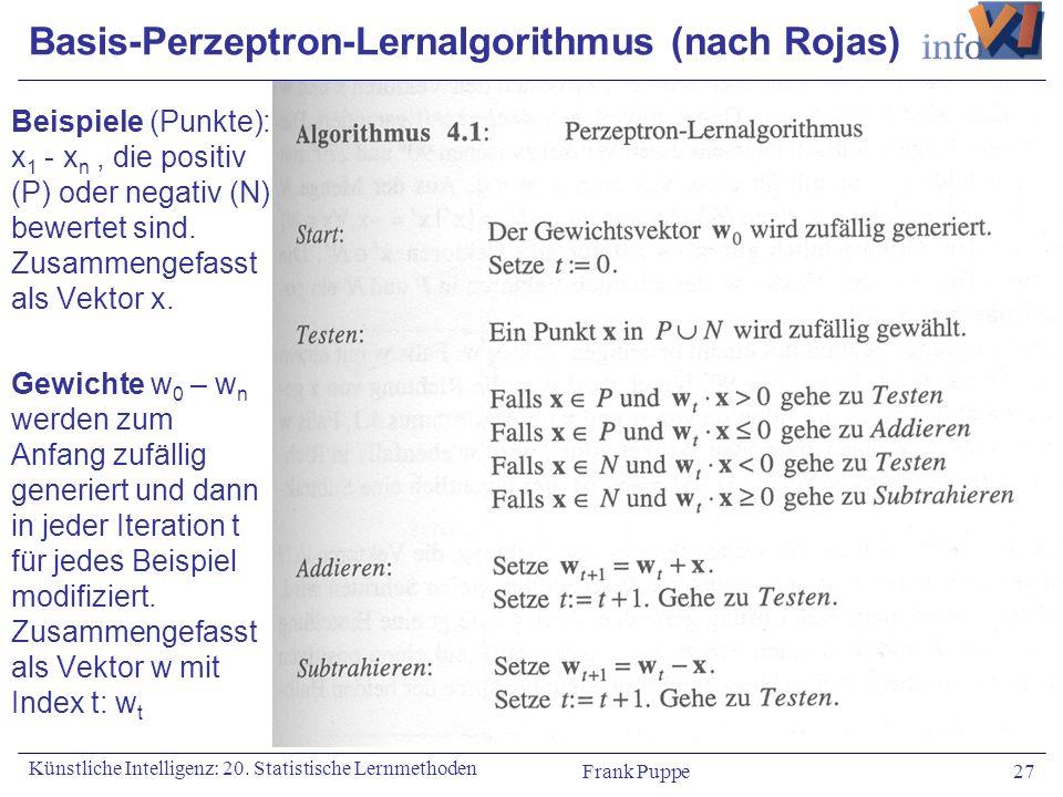 Basis-Perzeptron-Lernalgorithmus (nach Rojas)