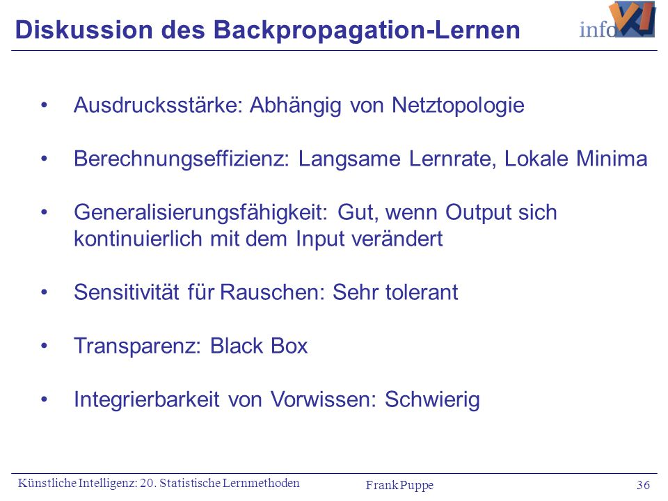 Diskussion des Backpropagation-Lernen