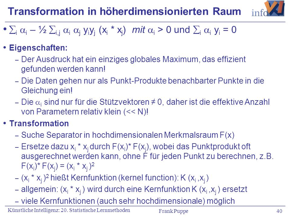 Transformation in höherdimensionierten Raum