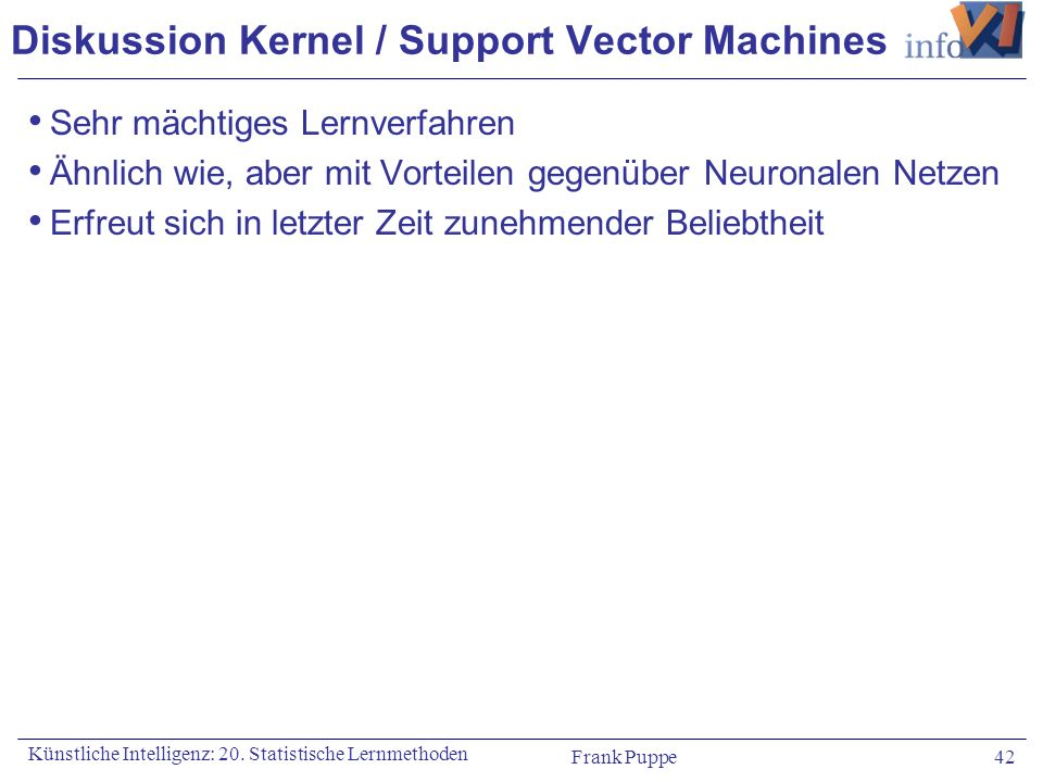 Diskussion Kernel / Support Vector Machines