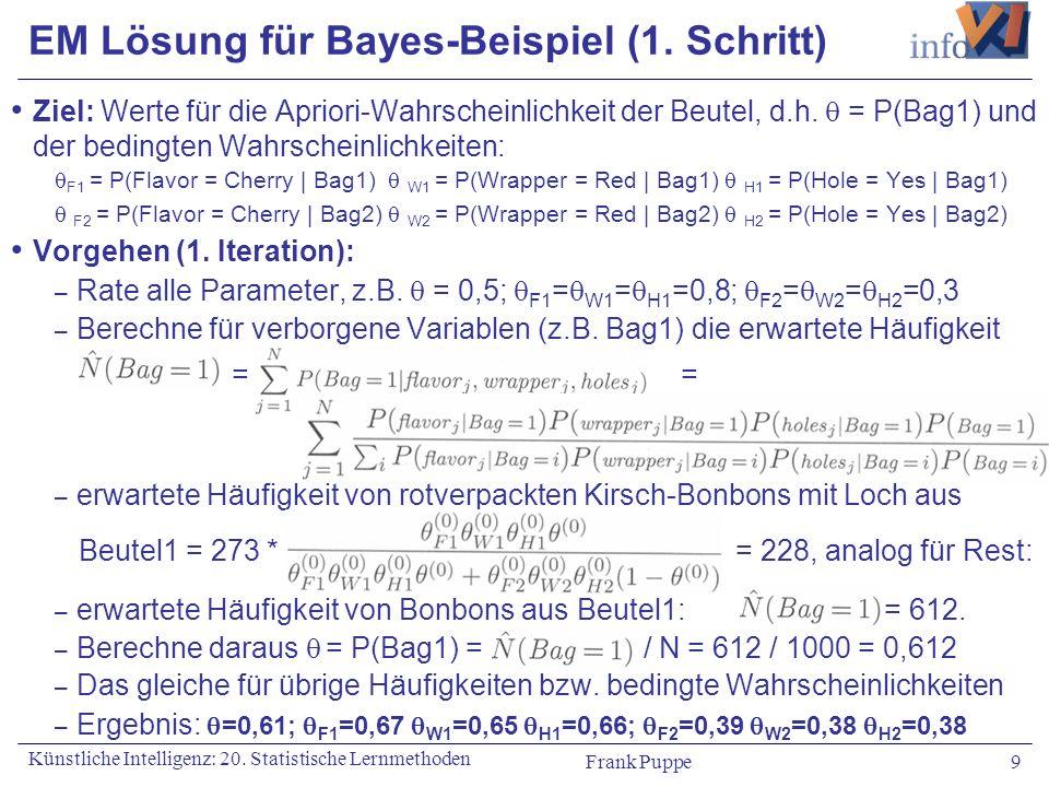 EM Lösung für Bayes-Beispiel (1. Schritt)