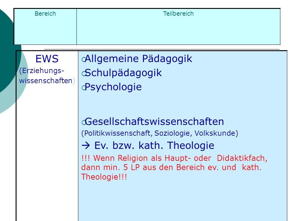 EWS Allgemeine Pädagogik Schulpädagogik Psychologie