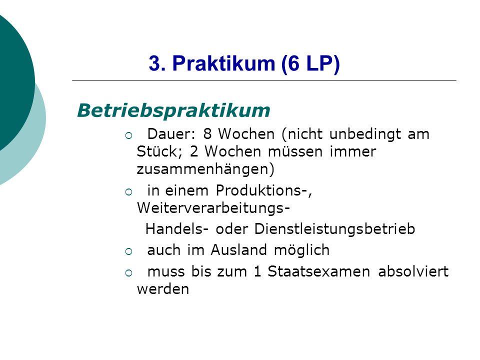 3. Praktikum (6 LP) Betriebspraktikum