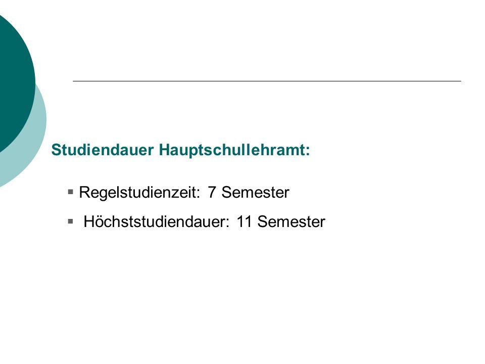 Studiendauer Hauptschullehramt: Regelstudienzeit: 7 Semester