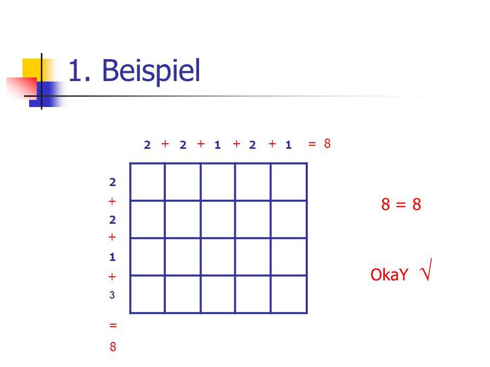 1. Beispiel 2 1 3 + + + + + + + = 8 8 = 8 OkaY √ = 8