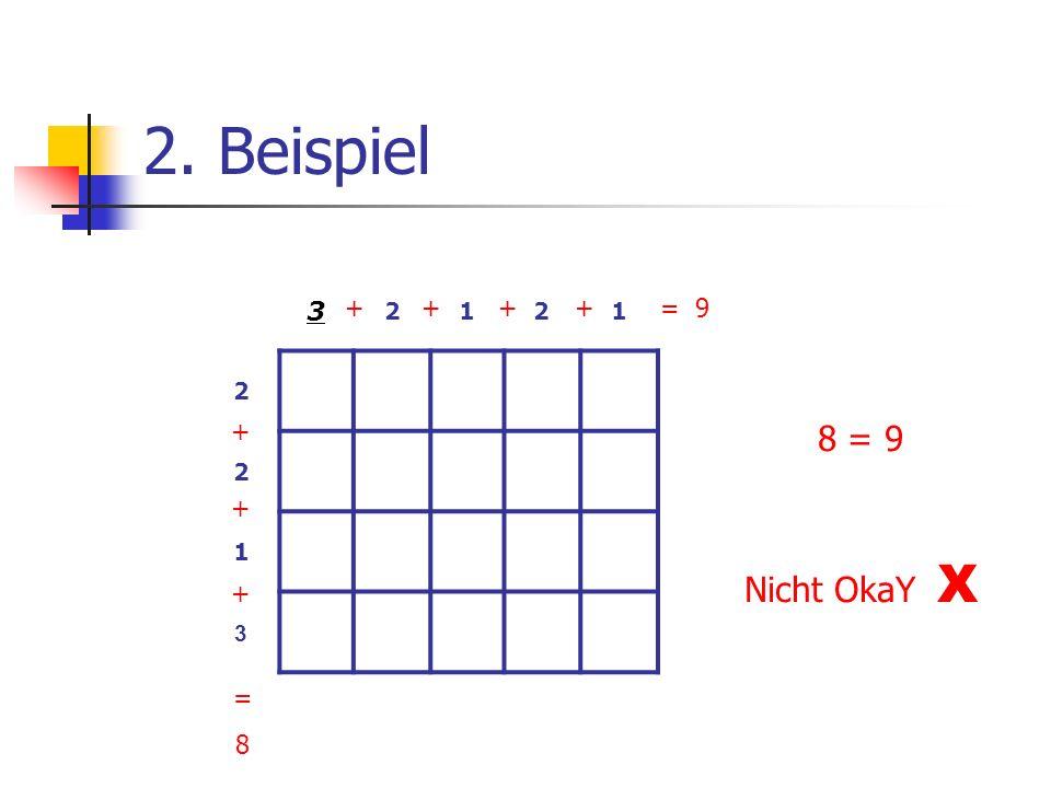 2. Beispiel 3 2 1 + + + + + + + = 9 8 = 9 Nicht OkaY X = 8