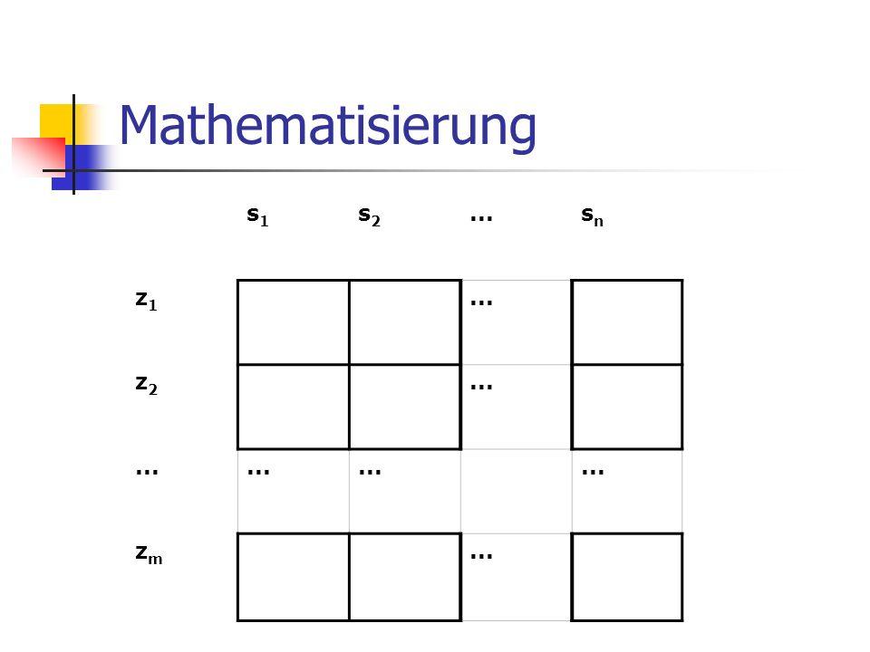 Mathematisierung s1 s2 ... sn z1 z2 zm