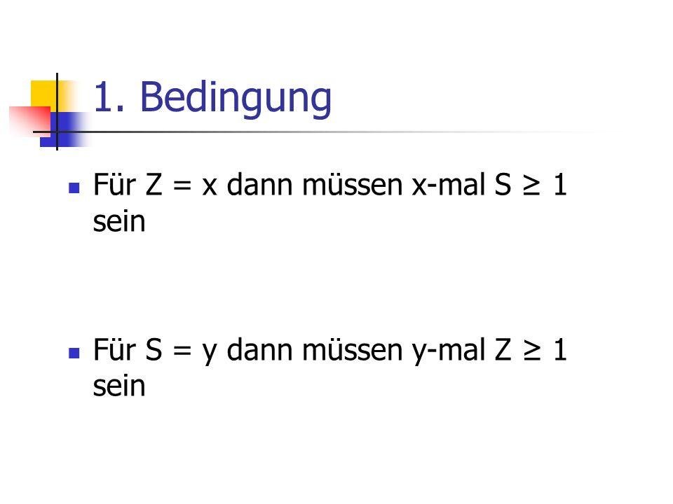 1. Bedingung Für Z = x dann müssen x-mal S ≥ 1 sein