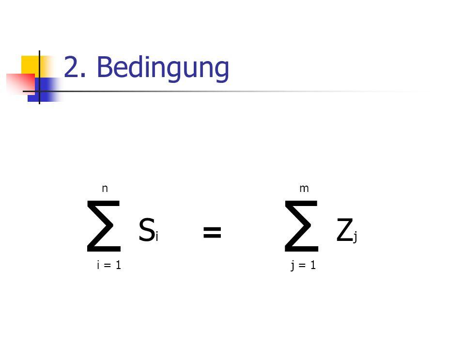 2. Bedingung n m ∑ ∑ Si Zj = i = 1 j = 1