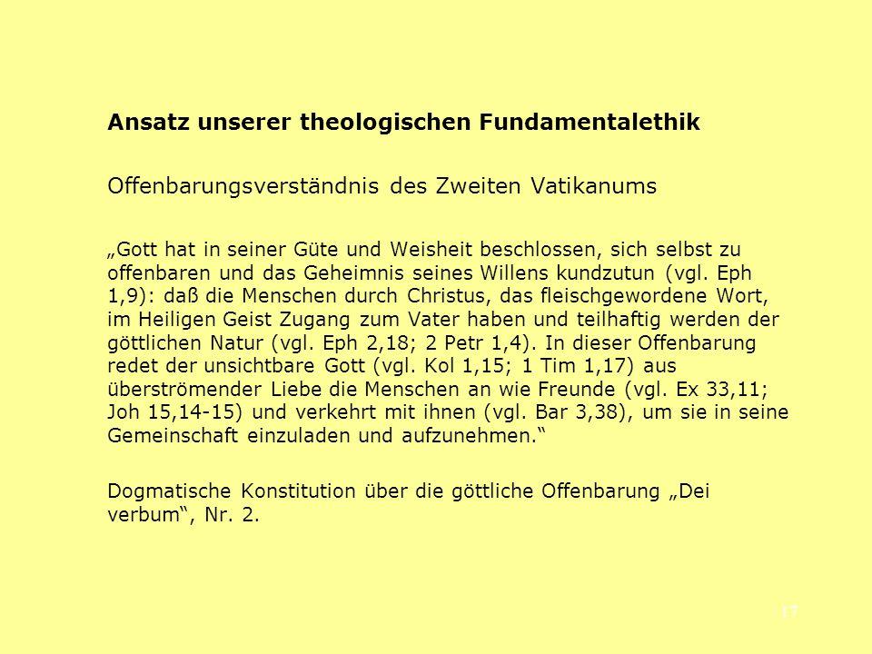 Ansatz unserer theologischen Fundamentalethik