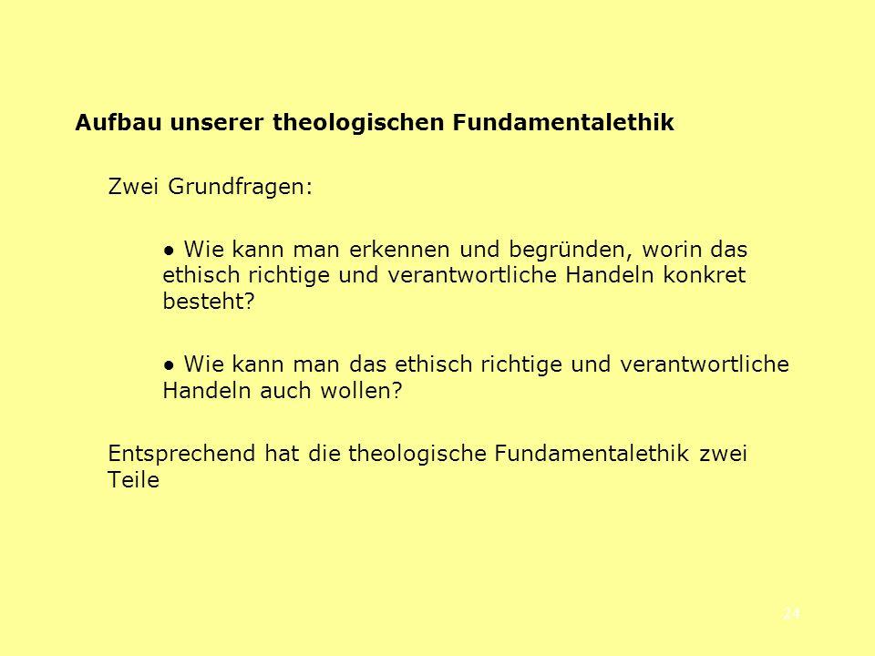 Aufbau unserer theologischen Fundamentalethik