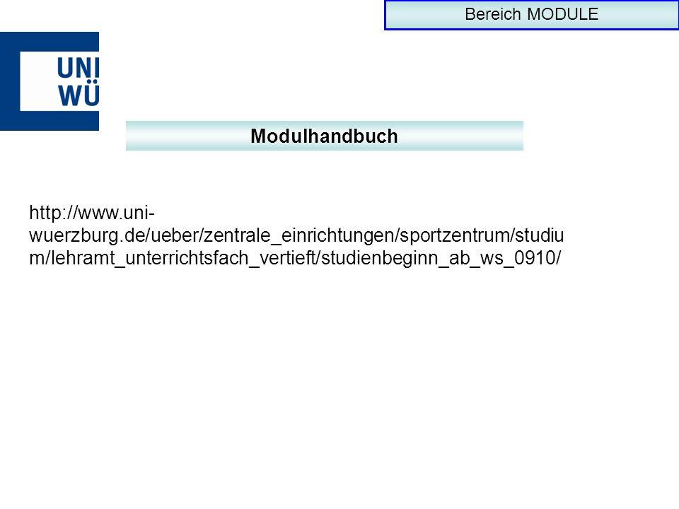 Bereich MODULEModulhandbuch.