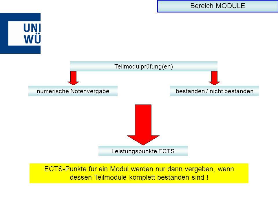Bereich MODULE Teilmodulprüfung(en) numerische Notenvergabe. bestanden / nicht bestanden. Leistungspunkte ECTS.