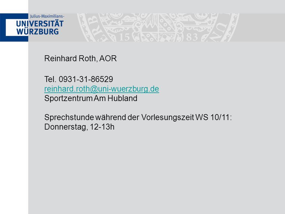 Reinhard Roth, AORTel. 0931-31-86529. reinhard.roth@uni-wuerzburg.de. Sportzentrum Am Hubland. Sprechstunde während der Vorlesungszeit WS 10/11: