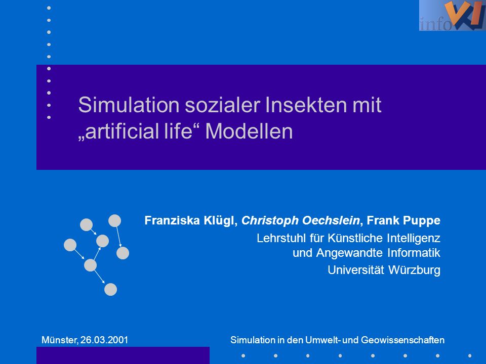 "Simulation sozialer Insekten mit ""artificial life Modellen"