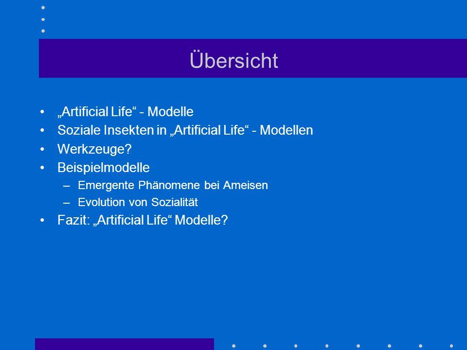 "Übersicht ""Artificial Life - Modelle"