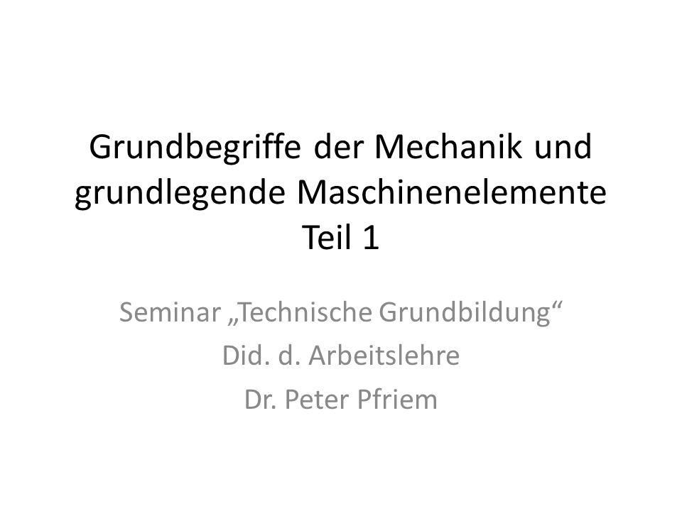 Grundbegriffe der Mechanik und grundlegende Maschinenelemente Teil 1