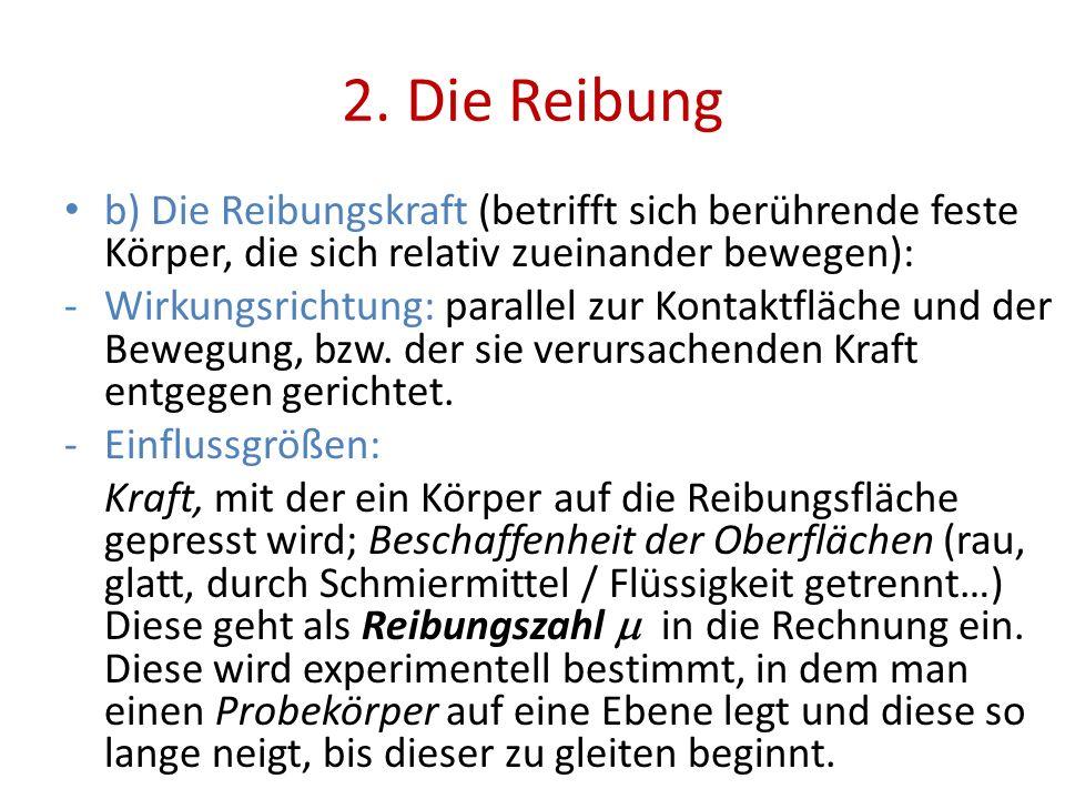 2. Die Reibung b) Die Reibungskraft (betrifft sich berührende feste Körper, die sich relativ zueinander bewegen):