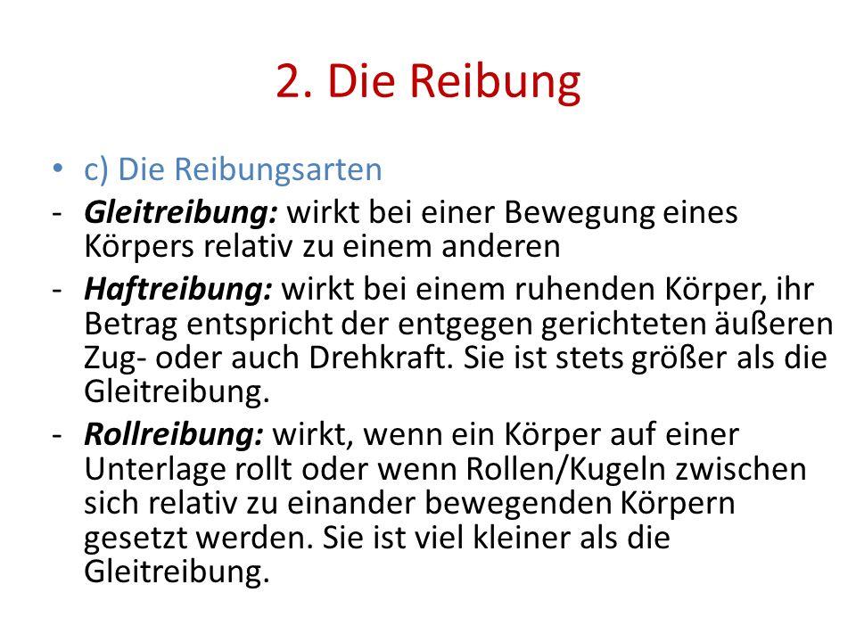 2. Die Reibung c) Die Reibungsarten