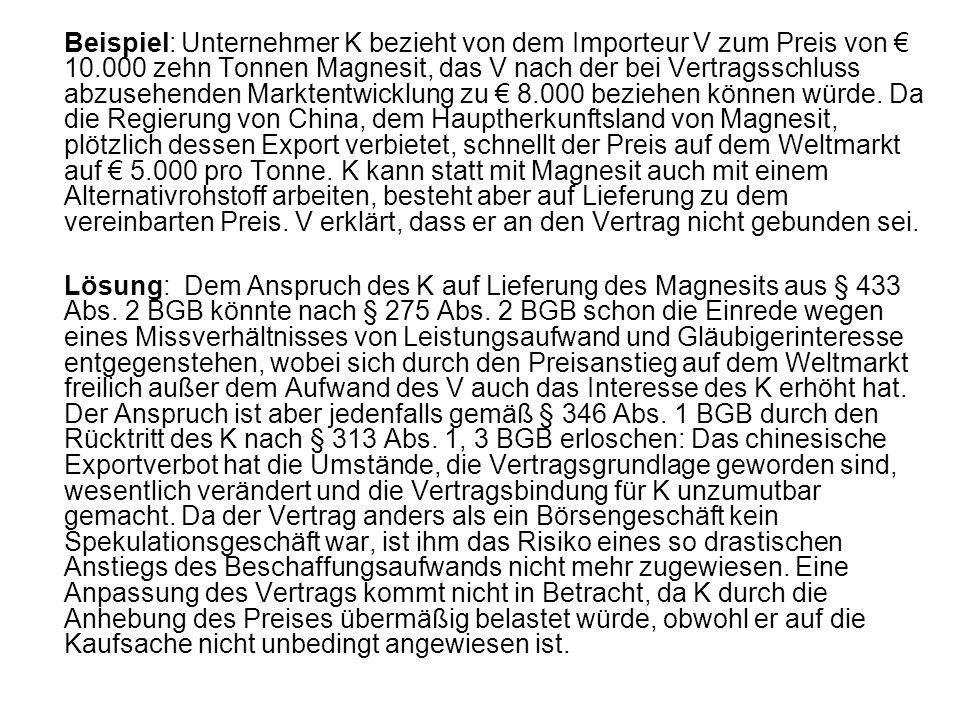 Beispiel: Unternehmer K bezieht von dem Importeur V zum Preis von € 10