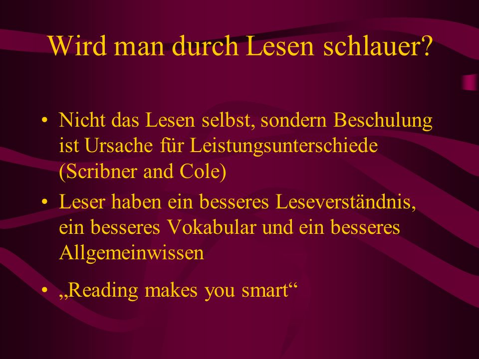 Wird man durch Lesen schlauer