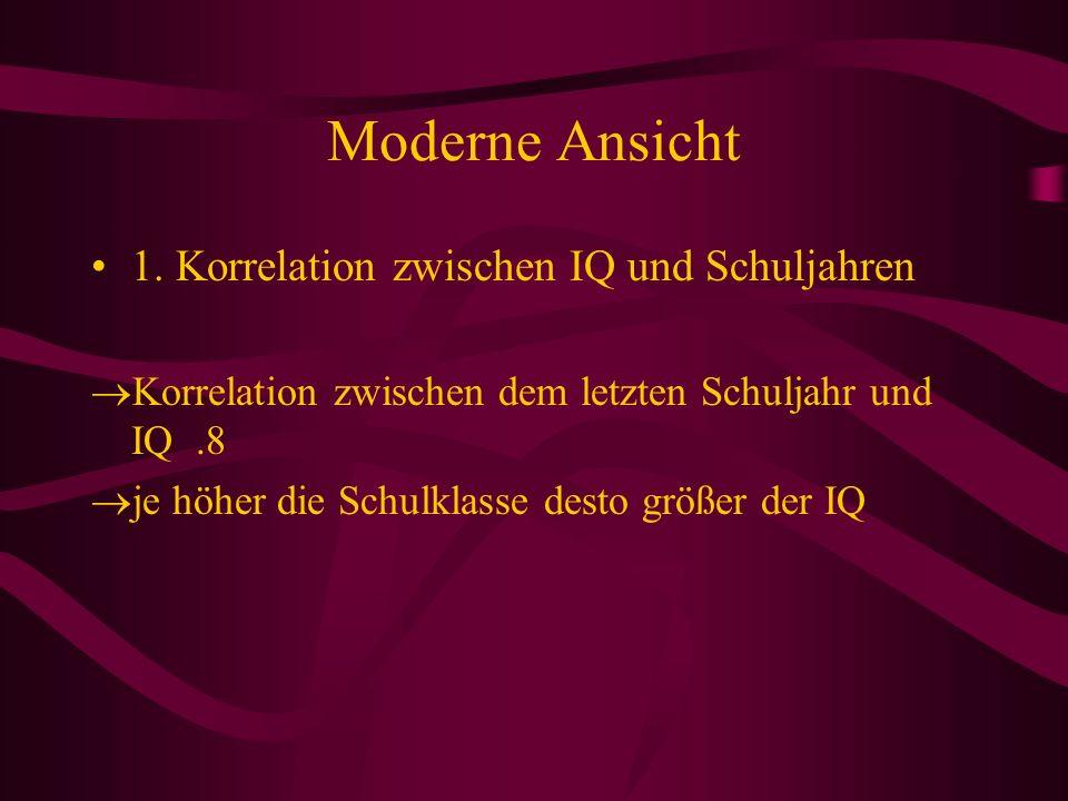 Moderne Ansicht 1. Korrelation zwischen IQ und Schuljahren