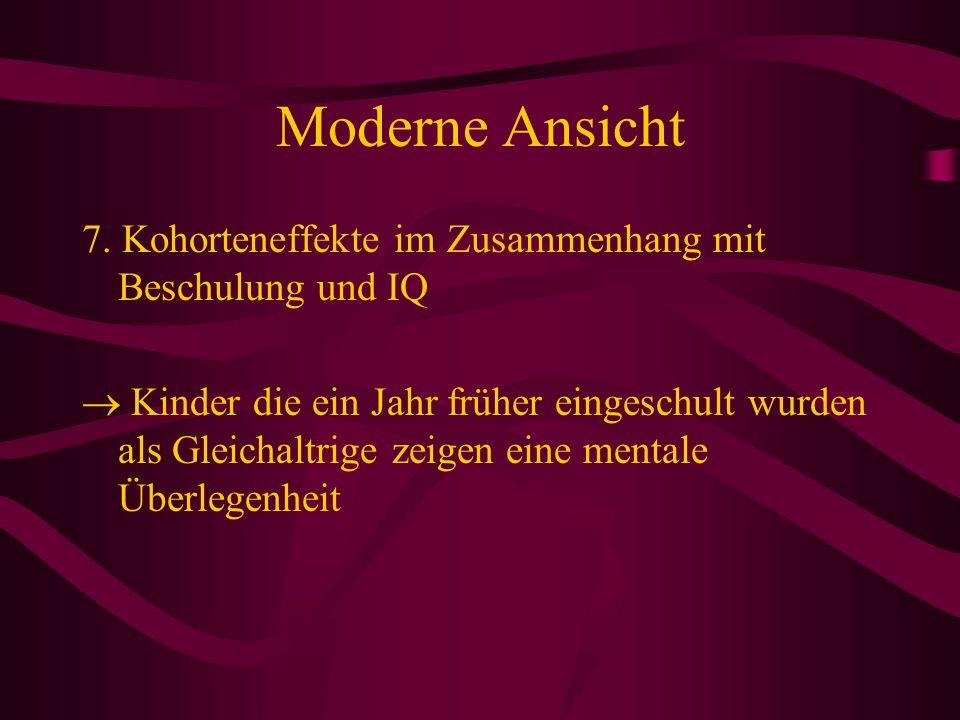 Moderne Ansicht 7. Kohorteneffekte im Zusammenhang mit Beschulung und IQ.