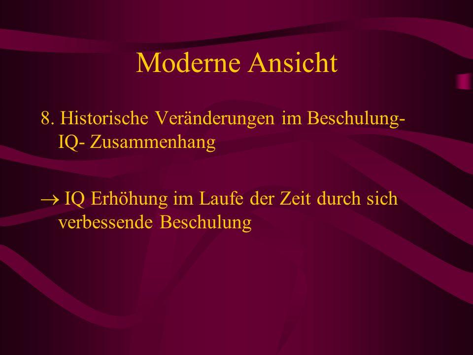Moderne Ansicht8.Historische Veränderungen im Beschulung-IQ- Zusammenhang.