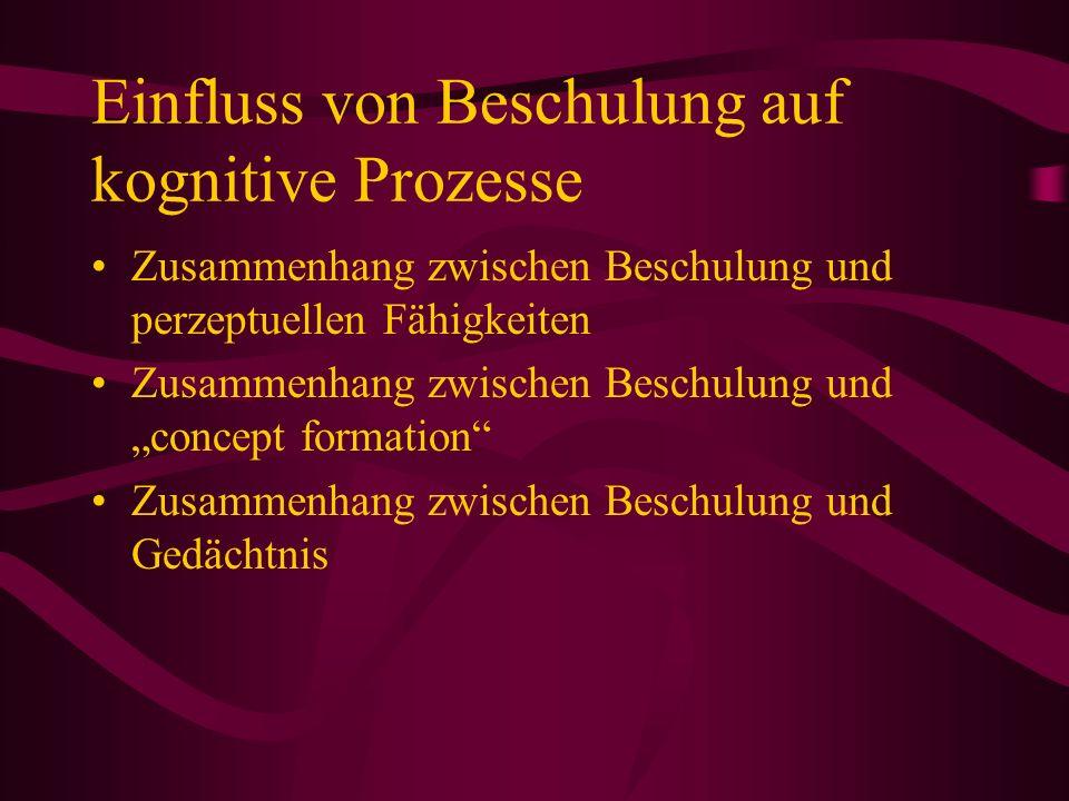Einfluss von Beschulung auf kognitive Prozesse