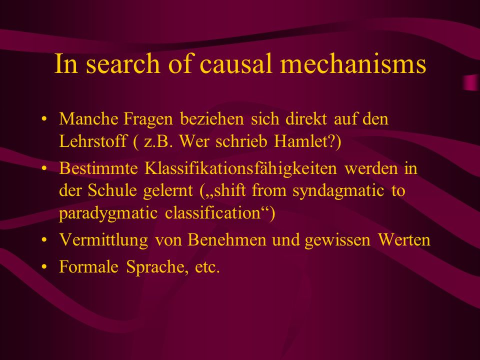 In search of causal mechanisms