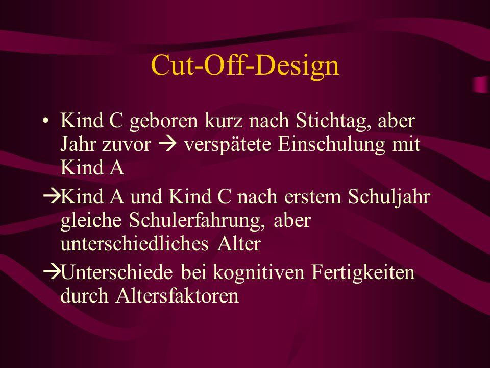 Cut-Off-Design Kind C geboren kurz nach Stichtag, aber Jahr zuvor  verspätete Einschulung mit Kind A.