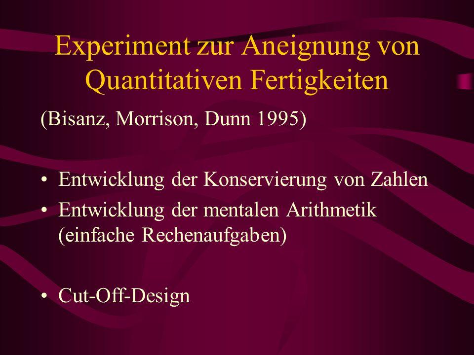 Experiment zur Aneignung von Quantitativen Fertigkeiten