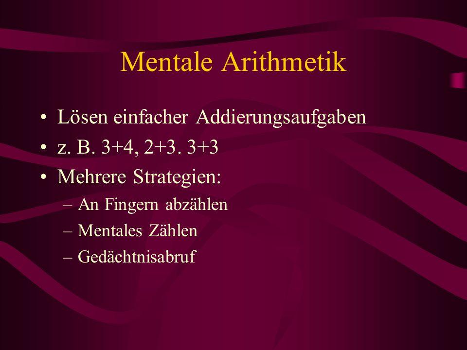 Mentale Arithmetik Lösen einfacher Addierungsaufgaben