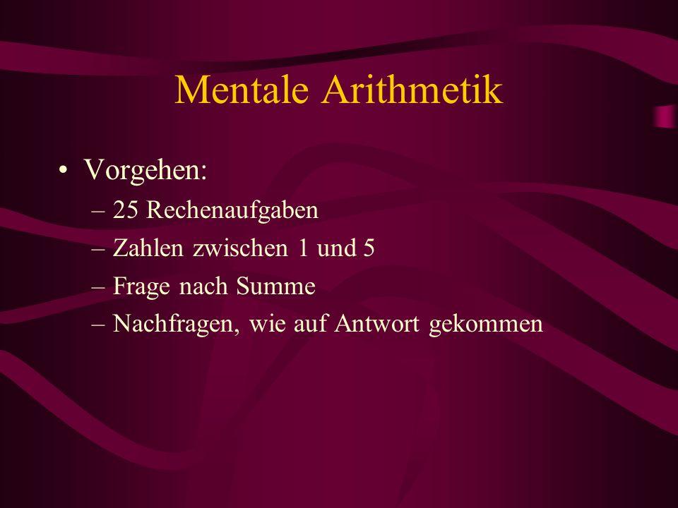 Mentale Arithmetik Vorgehen: 25 Rechenaufgaben Zahlen zwischen 1 und 5