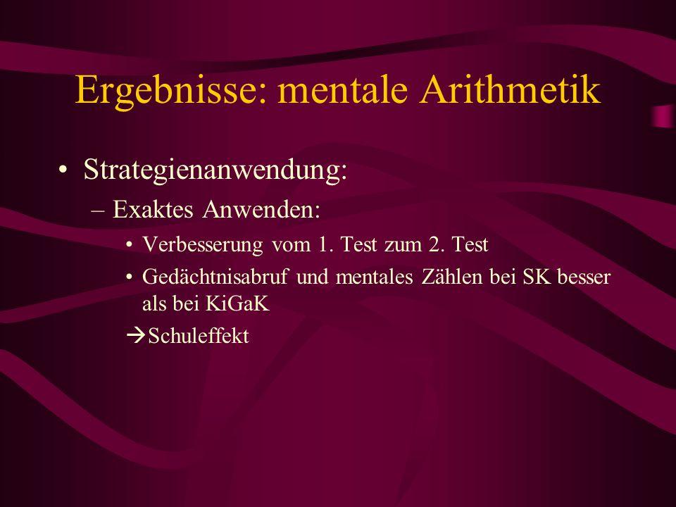 Ergebnisse: mentale Arithmetik