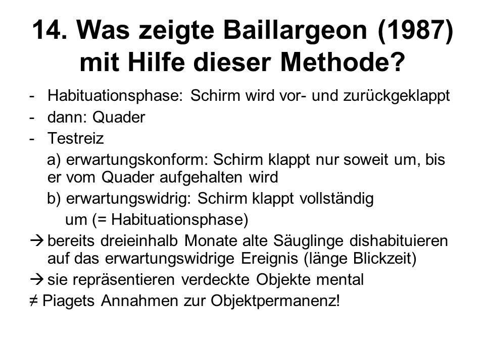 14. Was zeigte Baillargeon (1987) mit Hilfe dieser Methode
