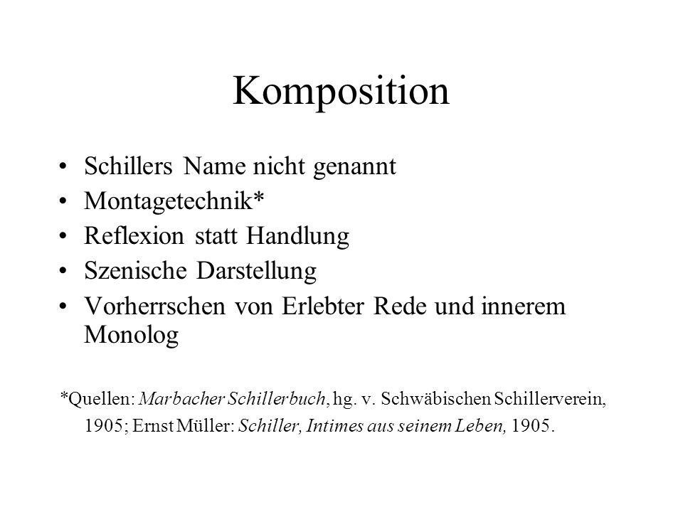 Komposition Schillers Name nicht genannt Montagetechnik*